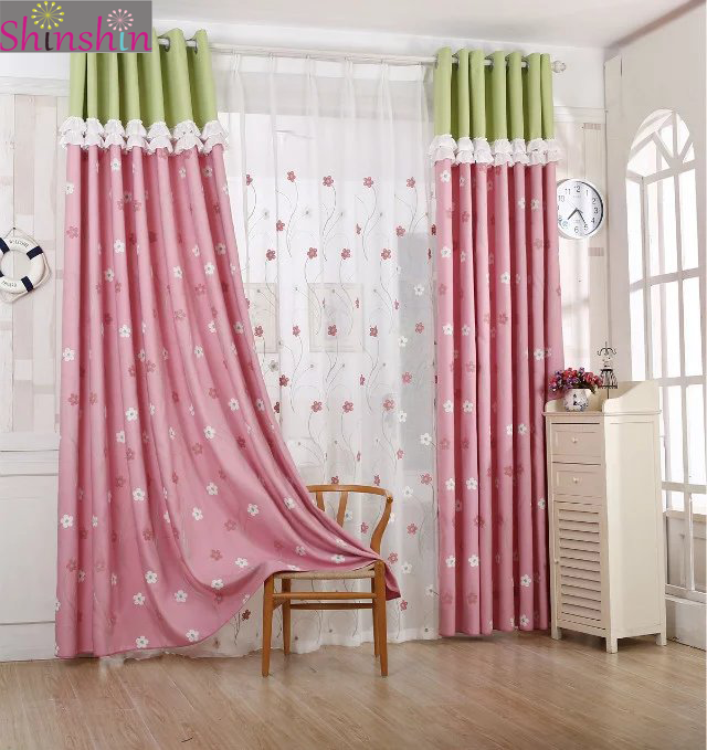 Lovely color rattan flower pink curtain for girls room