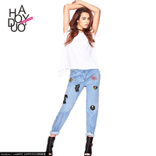 HAODUOYI 2017 New Women Fashion Jeans Pants Embroidery Loose Cowboy Trousers For Wholesale
