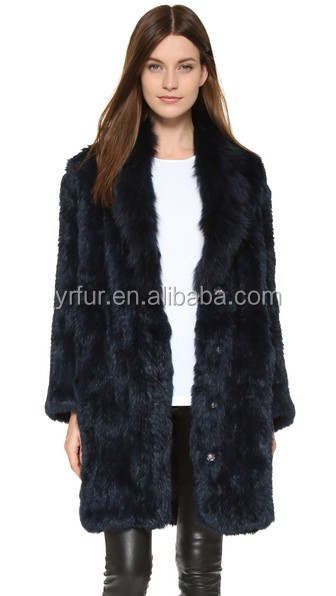 YR402 Knitted Rabbit Fur Coat Turn Down Collar/Hot Sale Fashion Coats