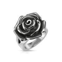 Ally Express Cheap Wholesale Stainless Steel Single Rose Flower Cast Band Ring