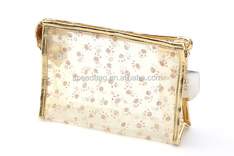 New mesh cosmetic bag pvc clear bag for women