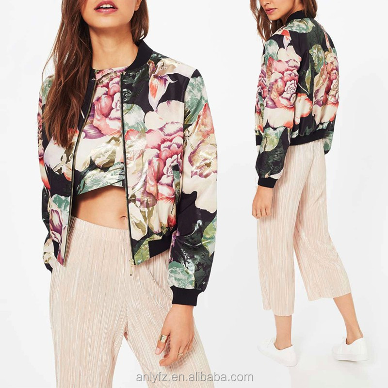 2016 Anly Latest Fashion Women Floral Print Bomber Jacket Stand collar Short jacket