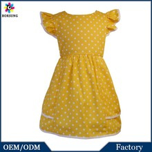 2015 Kids Summer Wear / Yellow Polka Dots Polyester Baby Dress / Stylish Frock Design For Baby Girl