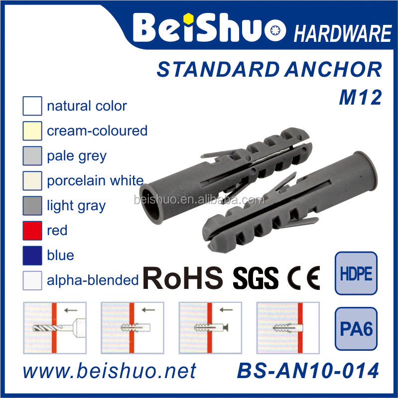 BS-AN10-014 M12 Self-drilling Dry Wall Ribbed Universal Plastic Anchor
