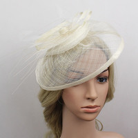 New Arrival 100% Sinamay Fabric Fascinator Church Hat For Women