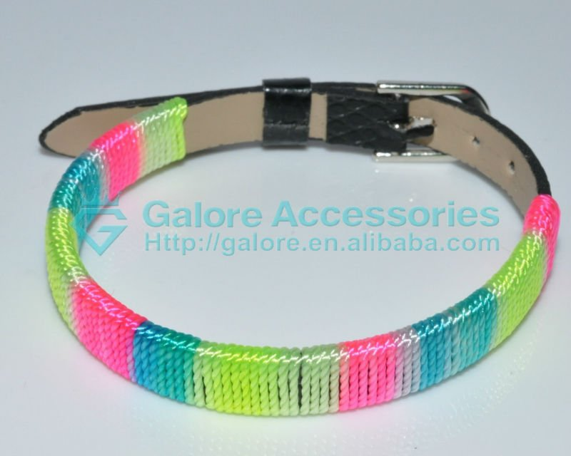 thread woven snap leather bracelet