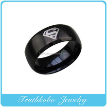 Vacuum plating black color Latest design ring custom stainless steel superman men ring with a large letter S