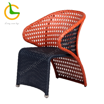 Contemporary outdoor garden woven wicker dining chairs with arms