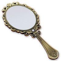 delicate antique metal hand cosmetic mirror, foldable long handle make up mirror