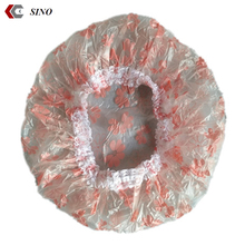 Customized PVC lace shower cap with pink flower printed cheap price Absorbent well soft shower cap hotel bathing cap
