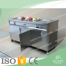 Glory New Design GL-F800 Ice Cream Food Cart Used Thai Commercial Double Pans Fried Ice Cream Machine