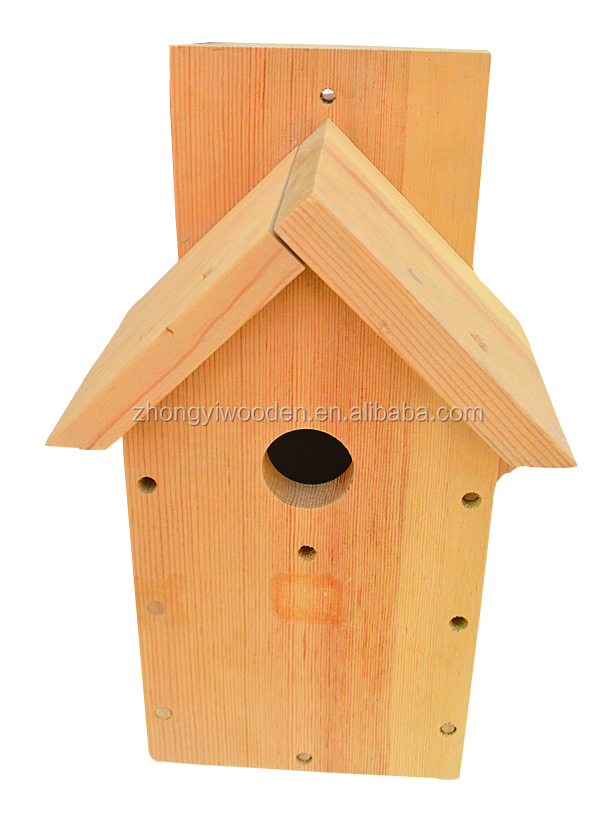 hot selling FSC nature wild garden wooden carved pet bird cages house for outdoor