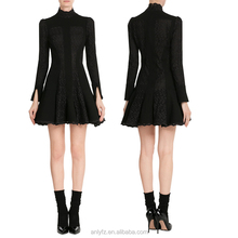 China Manufacturer Fashion Woman Clothing 100%Cotton Long Sleeve Mini Dress With Lace