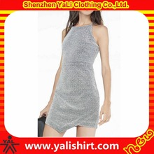 Customized unique stylish polyester/spandex spaghetti strap silver asymmetrical hem finery pictures of ladies dresses