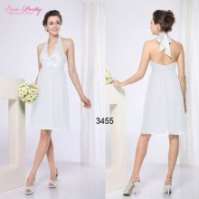 03455WH Halter White Sexy V-neck Open Back Flower Bridesmaid Dress 2012