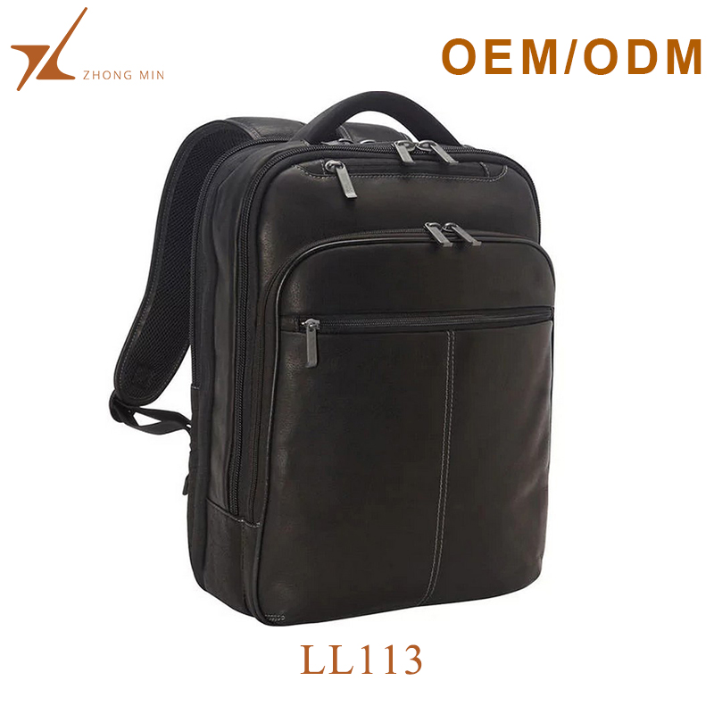 Custom 17 inch 3 compartment leather laptop backpack bag