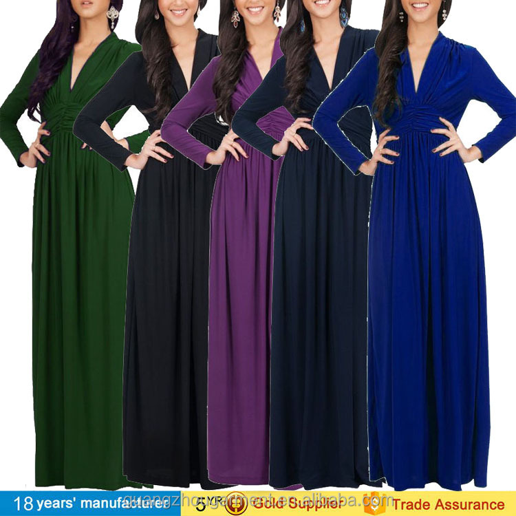 Plus Size Women V Neck Long Sleeve Cocktail Formal Party Gown Robe Maxi Dress