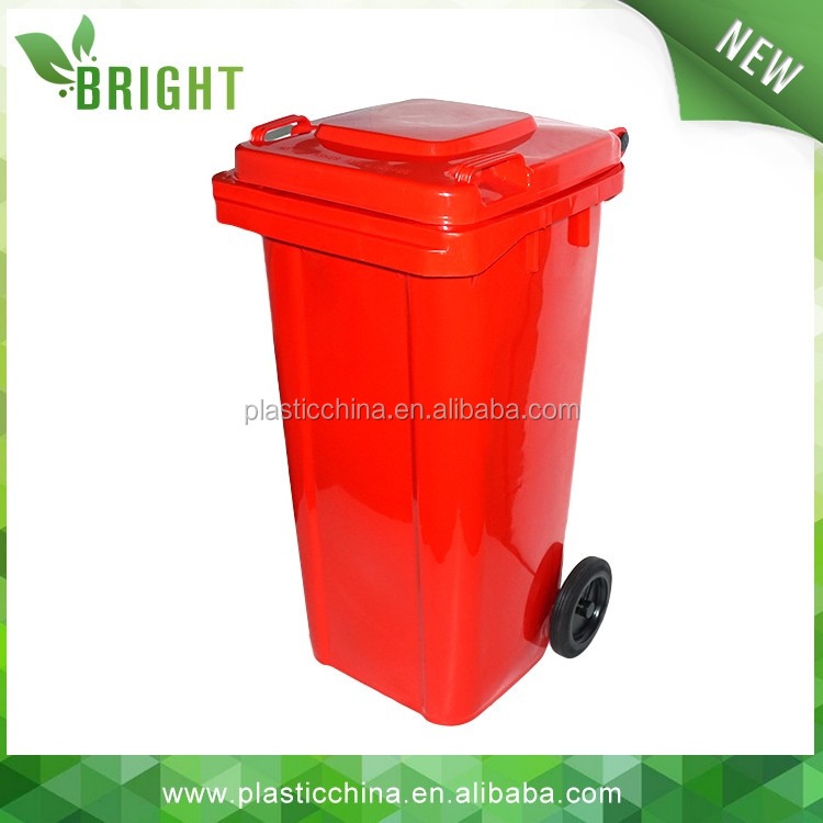 Plastic outdoor street litter bin with wheels
