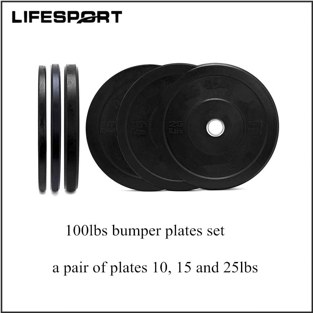 100LBS Rubber Bumper Weight Plates Barbell Set