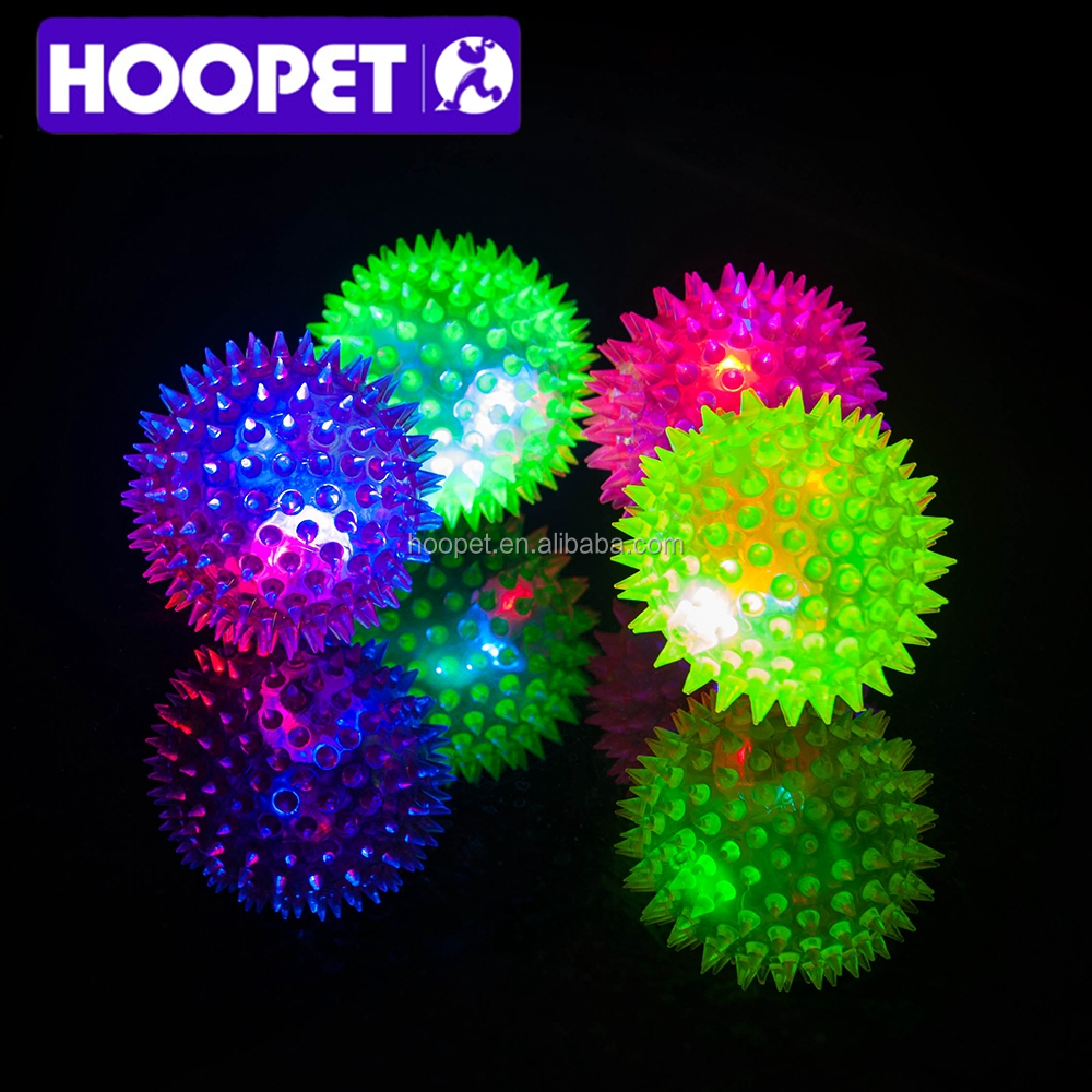 HOOPET colorful LED bubble perfect squeaky ball dog rubber pet toy