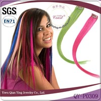 Most Popular Wholesale Price Virgin Remy hair strip clip colored Straight Synthetic Clip Hair Extension