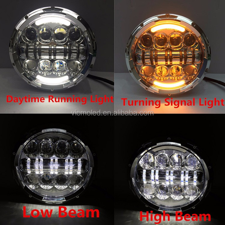 Hot Sale 80w Round 7 inch LED Headlight for Harley Softail Road King
