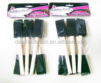 1 inch clean foam paint brush set/wooden handle sponge paint brushes