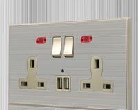 shenzhen jingze Gold uk type USB wall socket with 2 switches 2 USB ports
