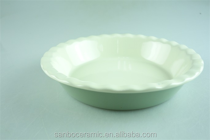 Ceramic stoneware colored baking dish, round bread baking pie dish, enamel pie dishes green and white