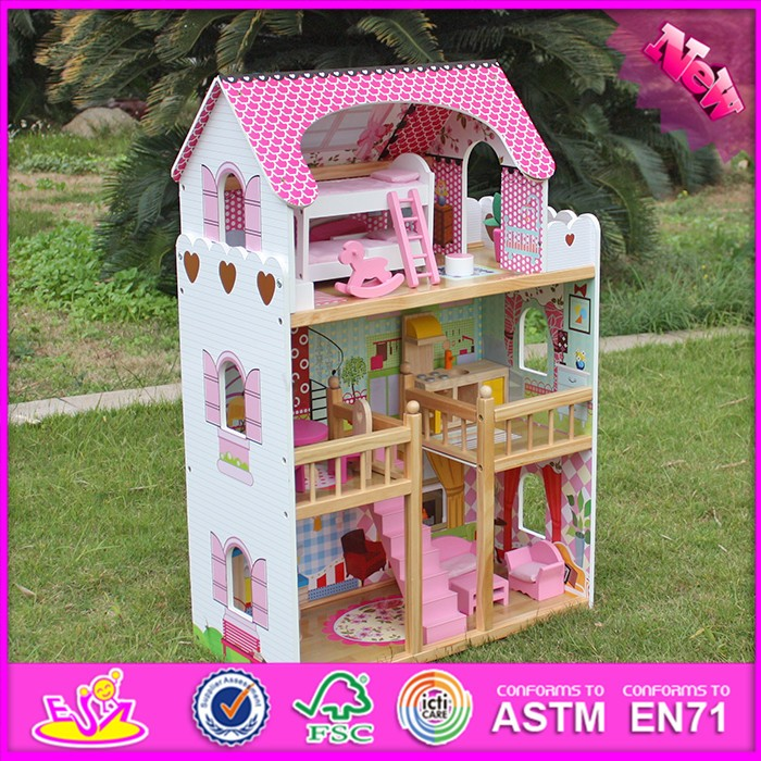 2016 luxurious children big wooden dollhouse kits W06A163-S