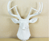 2015 best selling resin artificial white wall mounted resin deer head with cheap price