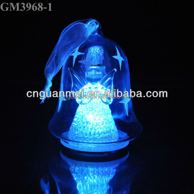 Christmas decorative hanging glass bell with led light