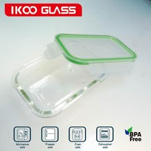 Rectangle Leak Proof Glass Food Container Microwave