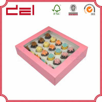 Wholesale custom design cheap 24 paper cupcake box with PVC window