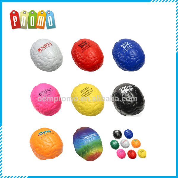 Color Brain Shaped PU Stress Ball For Promotion,Stress Toy