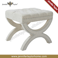European style fancy low fabric adjustable foot stool