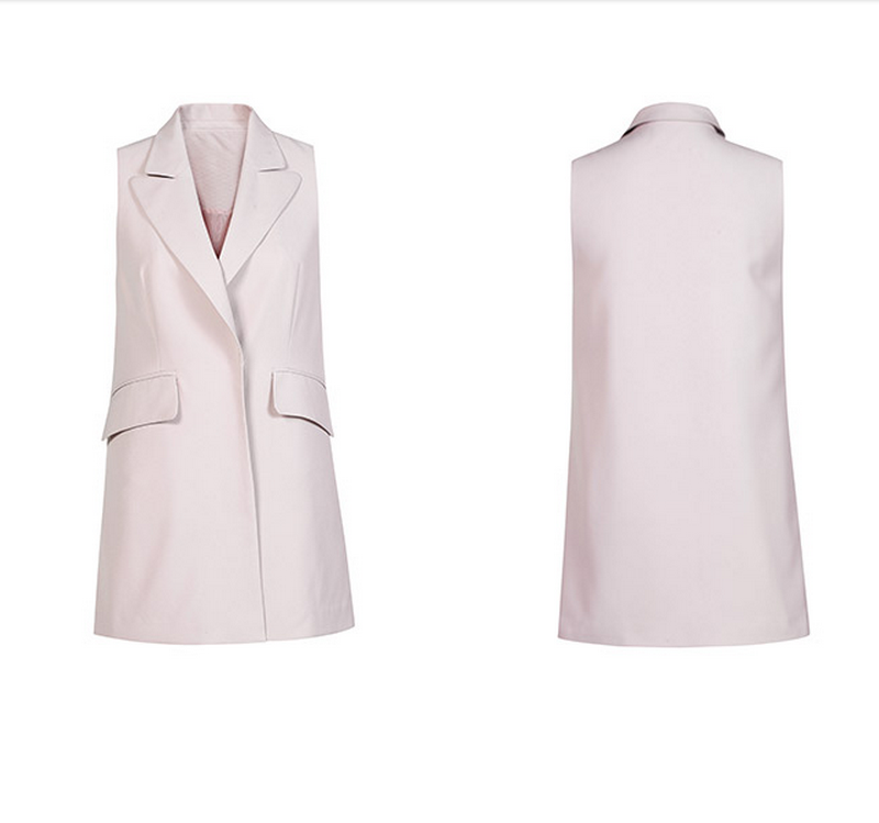2016 China wholesale women sleeveless pink blazer in midi length in spring