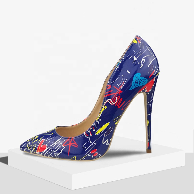 2019 Fashion Ladies <strong>Heels</strong> Plus Size Pointed Toe Sexy High <strong>Heel</strong> Shoes PU Leather Colorful Graffiti Super High <strong>Heels</strong>