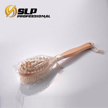 Double used wooden massage body brush with boar bristle