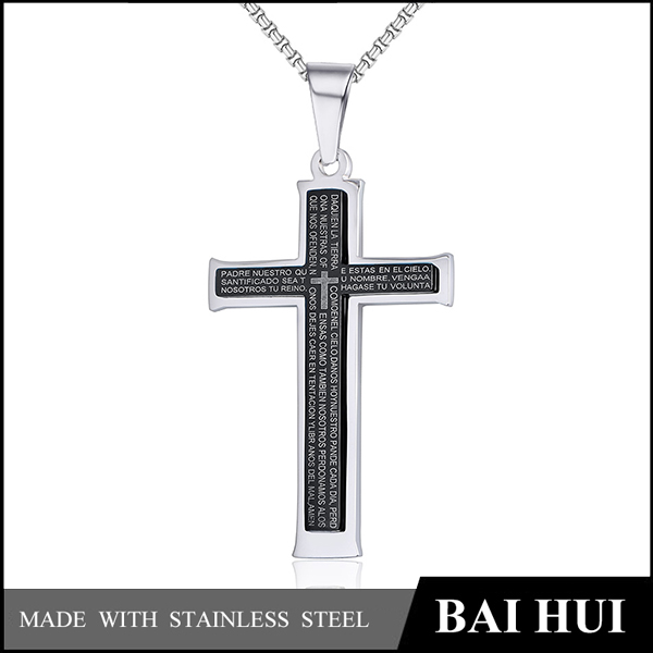 Baihui Jewelry Factory-Fashion Stainless Steel Pendant Mens Bible Lord's Prayer Cross Necklace, Chain 24 Inch