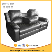 Living room leather recliner sofa with drop down table