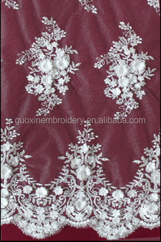 2014 Beaded French lace with applique for wedding fabric