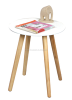 New White Top Wood Legs Modern Wooden MDF Round Table, MDF Table Decor