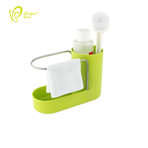 Convenient Soap and Sponge Holder Kitchen Sink Caddy Sink Organizer with Tea Towel Rack