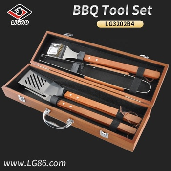4pcs easily cleaned grill tool set with wooden handle and MDF case