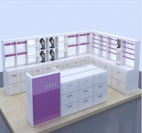 pop up mall jewelry kiosk MDF baking glass corner display cabinet/jewellery shop counter design