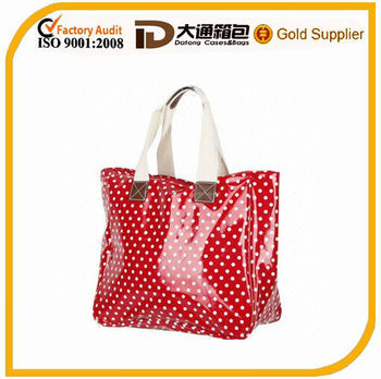 Shopping bag in PU dot printing material, measures 52x34x20cm, nice cotton webbing