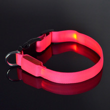 2017 Cheap Plain Nylon Webbing Flashing Dog Collar With Led Lights