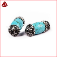 Natural cubic zircon paved turquoise stone for jewelry make, DIY Jewelry make stone