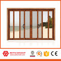 Aluminum wood philippines glass window with grill design glass wooden window